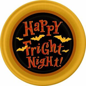 """Happy Fright Night Haunted House Carnival Halloween Party 9"""" Dinner Plates"""