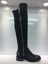 Señoras para mujer sobre La Rodilla Alta Imitación de cuero negro botas de tacón bajo zapatos talla 6