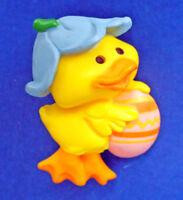 Hallmark PIN Easter Vintage DUCK FLOWER HAT & EGG Holiday Brooch