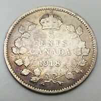 1918 Canada Small 5 Five Cents Silver Circulated Canadian Coin D450