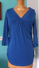MOTHERHOOD OH BABY BUMP STYLE BLUE 3/4 SLEEVE RUCHED MATERNITY TOP - L - NWT