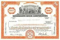 Mississippi River Corporation Common Stock 100 Share Certificate Orange 1970's