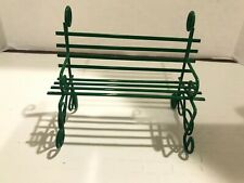 Green Metal BENCH Dollhouse Miniature 1:12 1 Inch Scale