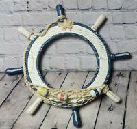 Nautical White Blue Wood Net Bobber Decoration Old Ocean Ship Wheel Wall Hanger