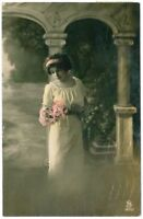 c 1920 Glamor Glamour FASHION BEAUTY Flower Lady tinted photo postcard