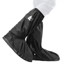 VTOSEN Black Waterproof Rain Boot Shoe Cover with reflector, Reusable & Foldable