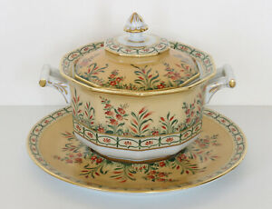 LE TALLEC Hand-Painted Porcelain Handled Covered TUREEN & UNDERPLATE France 1969