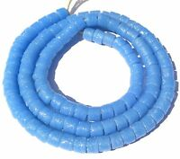 Azure Blue Ghana handmade recycled glass disk African Trade Beads