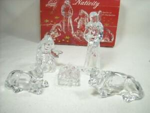 CRISTAL D'ARQUES FRANCE 5 PC. LEAD CRYSTAL NATIVITY SET W/ BOX