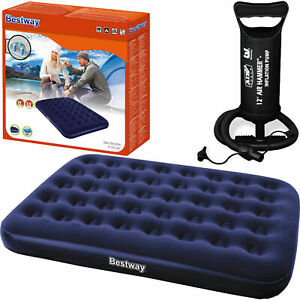 Double Camping Airbed Inflatable Mattress Flocked Blow Up Air Bed Pump WITH PUMP