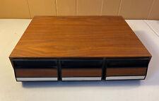 Vintage Faux Wood 42 Cassette Tape Holder 3 Drawer Storage Case