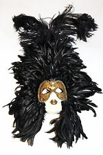 VINTAGE VENETIAN CARNIVAL MASK LARGE FEATHERED WOMAN MADE IN VENICE ITALY