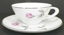 STYLE HOUSE FLAT CUP AND SAUCER SET FINE CHINA DAWN ROSE PATTERN