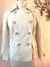 Talbots Jacket Blazer Cream White Waffle Textured Double-Breasted Size 6