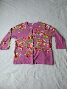 Isaac Mizrahi Live Womens Cardigan Sweater Size L Pink Magenta Floral 3/4 Sleeve