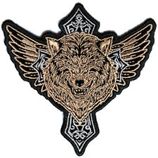 Embroidered Wolf Cross Iron on Sew on Biker Patch Badge