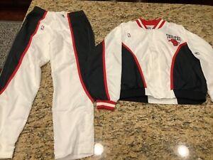 Michael Jordan Vintage Champion XL Chicago Bulls White COAT & PANTS Warm Up RARE