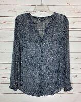 Lucky Brand Women's S Small Blue Boho Button Long Sleeve Fall Top Shirt Blouse