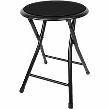 Furniture Home Outdoor Black Cushion Folding Stool Chair Steel Comfort Camper RV