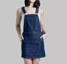 Georgia Short Denim Pinafore - Darkwash Dungaree Dress Bib Overall Skirt {N118}