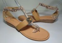 Coach Size 9.5 M INES Snake Print Leather Wedge Heel Sandals New Women's Shoes
