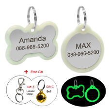 Personalised Bone/Round Pet ID Tag Glow in Dark Collar Silencer Tags Dog Cat Tag