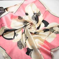 """35"""" 100% Silk Scarf Square Women Bandana Neck  Shawl Wrap red pink FJ31029-z"""