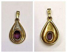 MAGNIFIQUE PENDENTIF 333 doré 8 Carat ANTIQUE en or améthyste, violet pierre
