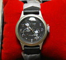 New Disney Store MICKEY & MINNIE 1928 Black Leather Watch for Adults