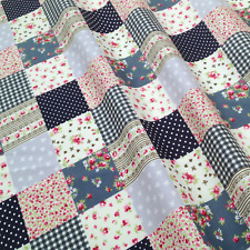 FABRIC Black & Grey Pink PATCHWORK Childrens Sewing Pattern Crafts by 1/2 metre