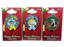 Disney Pin DLR Happy Holiday 2016 HOTEL Dumbo Stitch Flower Wreath Hinge LE
