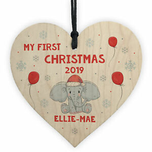 Handmade My First Christmas Wood Heart Personalised Gift Daughter Son Xmas Decor