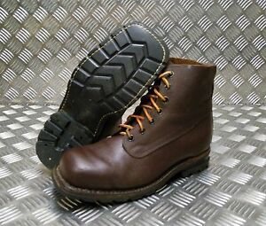 Genuine Vintage Leather M59 Swedish Military Brown Square Toe Boots 60`s / 70`s