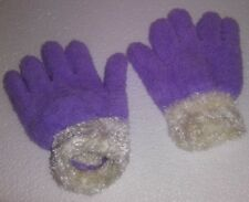 NO TAGS  UNKOWN BRAND  KIDS 1 PAIR KNIT GLOVES 1 SIZE PURPLE W/ WHITE CUFF A-18