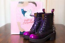 JEFFREY CAMPBELL - 8th ST PUNK  SPIKED Black w/ Purple Lace Up BOOTS WOMEN 7 M