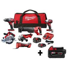 M18 18-Volt Lithium-Ion Cordless Combo Kit (6-Tool) with Two Batteries, Charger