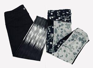 Lot of 2! ATHLETA Capri Leggings~Black/Gray~Size Medium