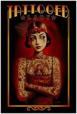 Tattooed Lady by Marcus Jones Screaming Demons Tattoo Art Print Vintage Poster