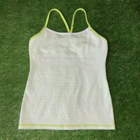 Lululemon Power Y Tank Luon Light Size 8 White Green Striped EUC