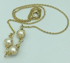 15 Inch Vintage Necklace with 3 Cultured Pearls