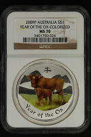 2009 1 oz NGC MS70 Silver Australian Year of the Ox Colorized Coin Bullion 70!