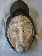 Authentic VTG Tribal African Solid Wood Carved & Leather Painted Punu Mask 41611