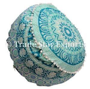 Indian Ombre Mandala Ottoman Pouf Ethnic Round Floor Pouf Cover Cotton Pouffe