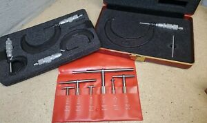 """Starrett No. 579 telescoping gages w/ Central micrometer set 0"""" - 4"""" Made in USA"""