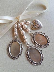 "Bouquet charm Triple Oval Silver Locket Bridal Charm  ""always in my heart"" charm"