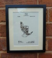 USA Patent Drawing vintage BARBER CHAIR hairdresser hair MOUNTED PRINT 1915