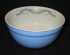 "Vintage HALL's Blue Wildfire Mixing Bowl  7"" Ribbon & Roses Cream Interior"