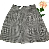 Banana Republic Women's Size 4 Houndstooth Flare Skirt Silk Blend Pleated New