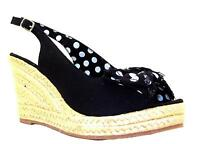 Platino Women's Black Spotty Bow Slingback Rope Wedge Heel Peeptoe Sandals New