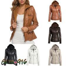 Womens Ladies Motorcycle Hooded PU Leather Biker Jacket Coats Parka Outerwear UK